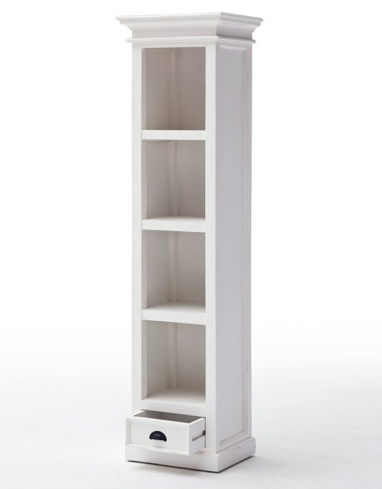 Product Description Detailed wooden molding tops a columnar bookshelf with fixed shelving. Display not just books, but collectibles as well. Perfect for small spaces. Small drawer at base